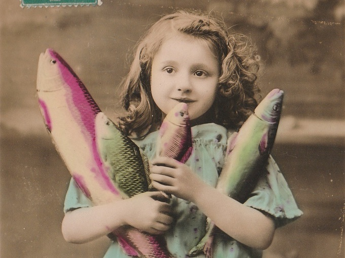 1911 Poisson D'Avril (April Fish) Carte Postale (Post Card)