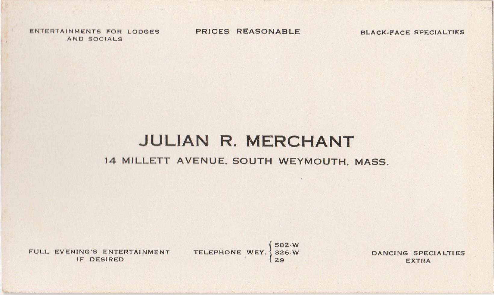 Oversize Business Card Julian R. Merchant — South Weymouth, Mass.