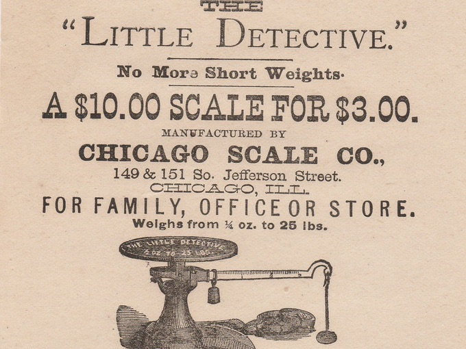 "19th Century Broadside Ad for ""Little Detective"" Scales"