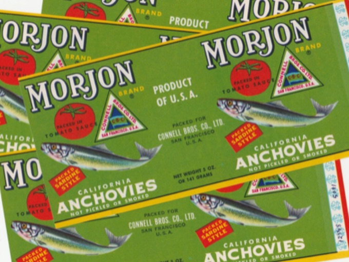 Vintage Morjon California Anchovies Can Labels (Lot of 4)