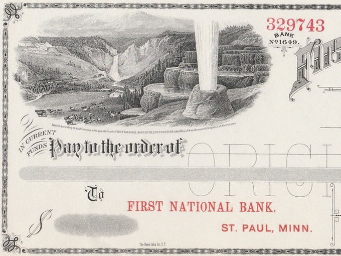 1884 Illustrated Bank Check — First National Bank of Helena, Montana