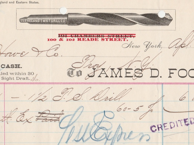 1891 James D. Foot, Cleaveland Twist Drill Co., — New York, N.Y.