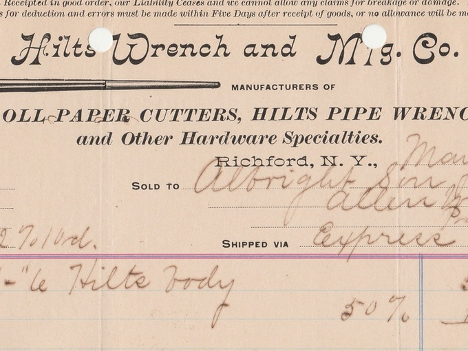 1902 Hilts Wrench and Mfg. Co., Roll Paper Cutters, Hilts Pipe Wrench — Richford, N.Y.