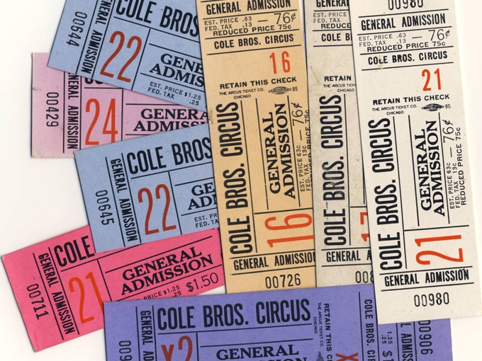 Vintage Cole Bros. Circus Tickets (Lot of 8)