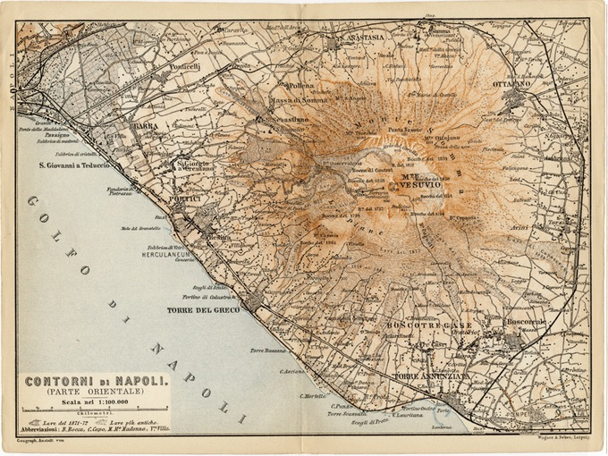 1928 Wagner & Debes Map of Napoli (Naples), Italy