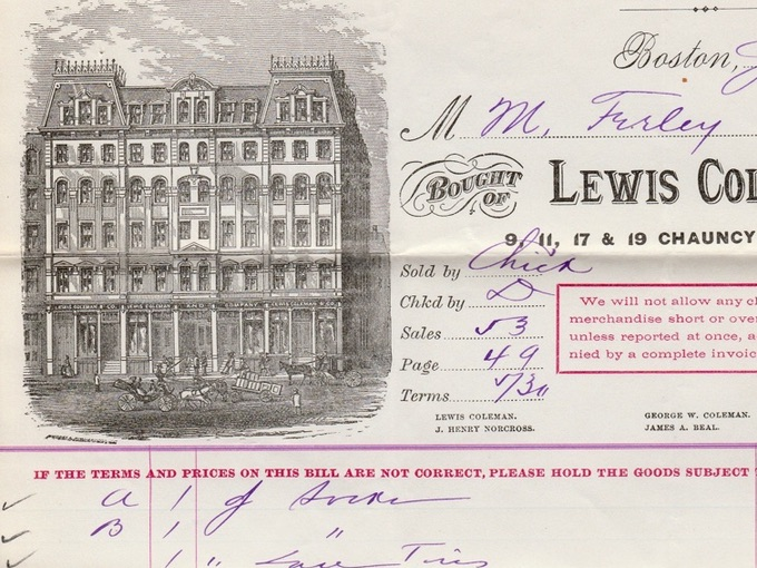 1880 Lewis Coleman & Co., Illustrated Billhead — Boston, MA