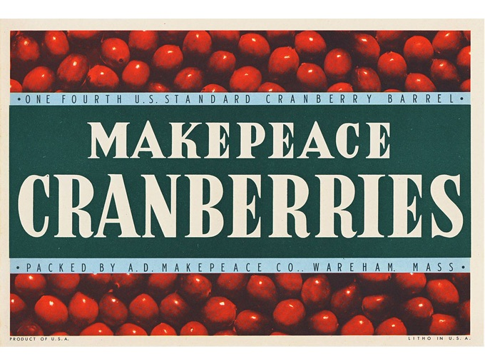 1950s A.D. Makepeace Cranberries Crate Labels — Never Used (Lot of 2)