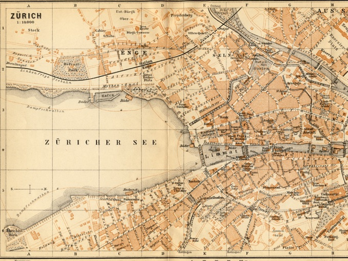 1895 Wagner & Debes Map of Zurich, Switzerland