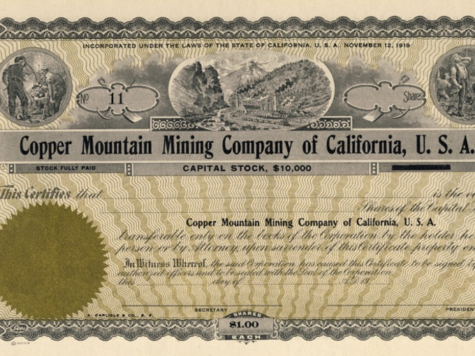 Copper Mountain Mining Company Capital Stock Certificate (Unissued)