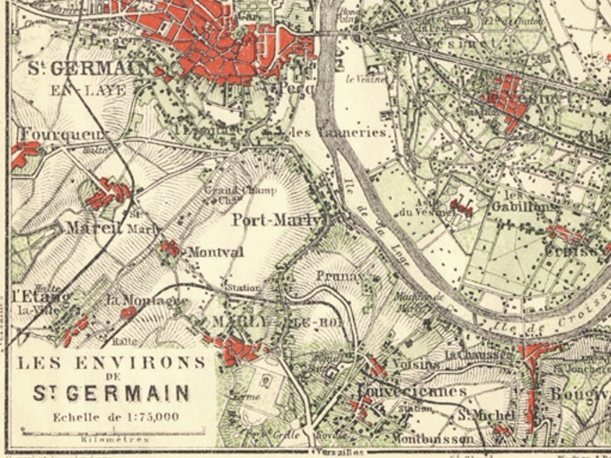 1924 Wagner & Debes Map of Les Environs de St. Germain, France