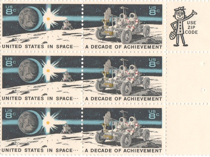 United States in Space 8¢ Stamps with Mr. Zip! (Block of 6)