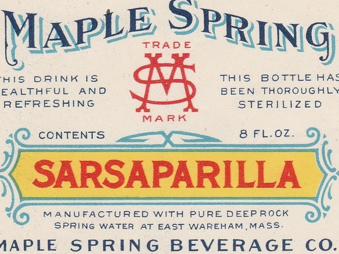 1930s Maple Springs Sarsaparilla Soda Label — East Wareham, Mass.