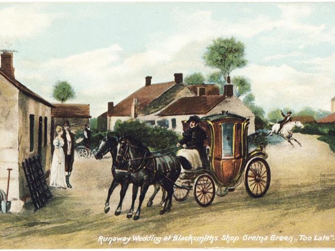 "1905 Postcard, Runaway Wedding Blacksmiths Shop, Gretna Green — ""Too Late"""