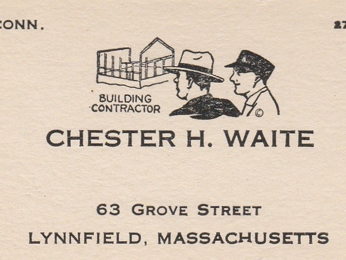 1930s Business Card CHESTER H. WAITE — Lynnfield, Mass.