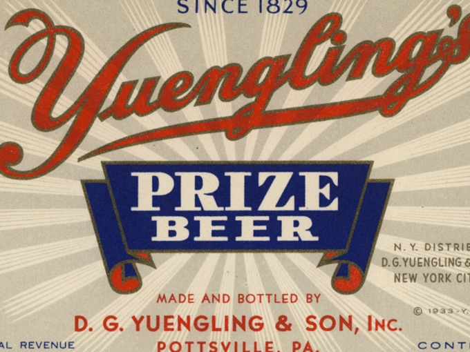 1933 Beer Label, Yuengling's Prize Beer — Pottsville, PA.