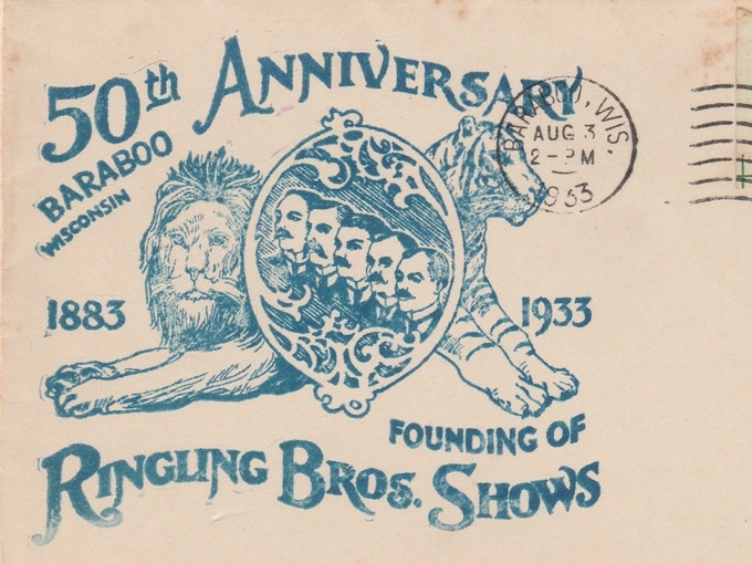 1933 Ringling Bros. Shows Anniversary Postal Cover