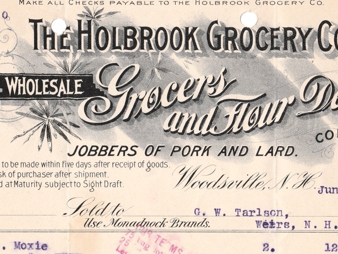 1907 The Holbrook Grocery Co., Illustrated Billhead Receipt — Woodsville, N.H.