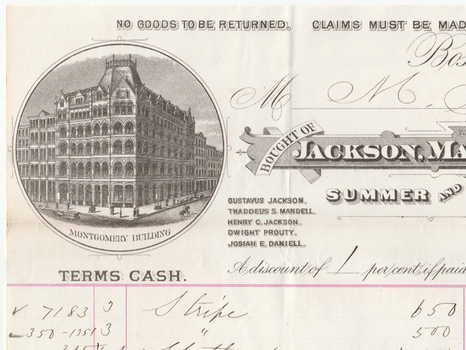 1880 Jackson, Mandell & Daniell, Illustrated Billhead — Boston, Mass.