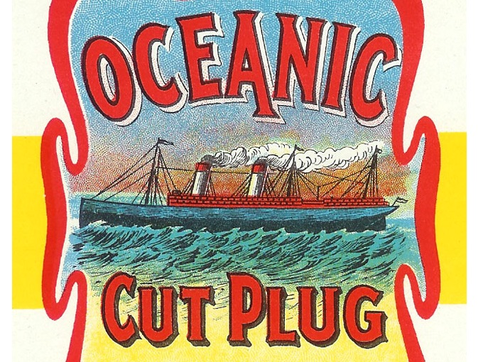 Vintage Tobacco Tin Paper Label for Oceanic Cut Plug