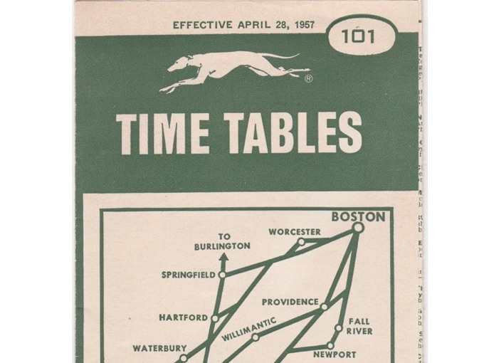 1957 Eastern Greyhound Bus Schedule Time Tables