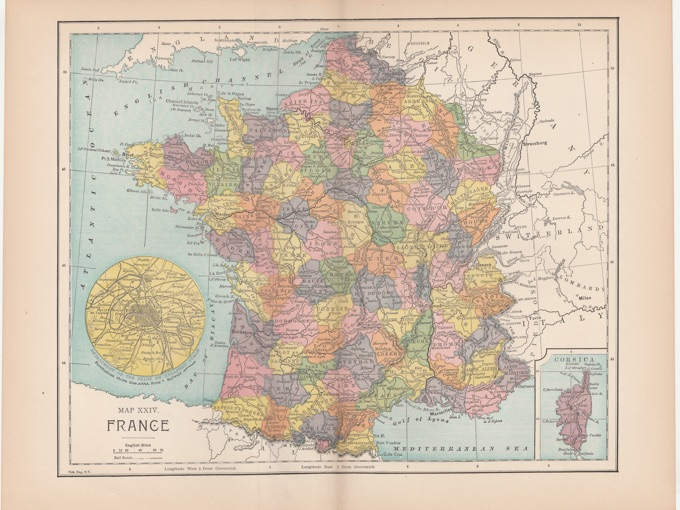 1885 Map of France — Fisk, Eng. N.Y.