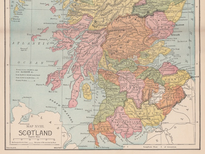 1885 Map of Scotland — Fisk & See N.Y.