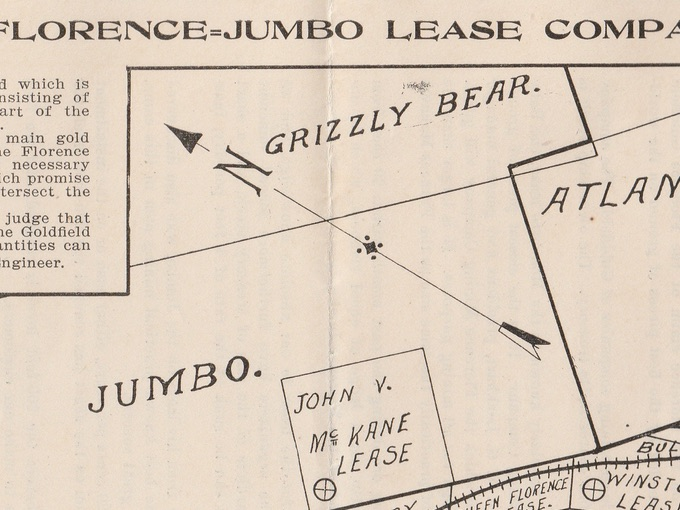 1907 Florence-Jumbo Lease Company Gold Mining Claims Map