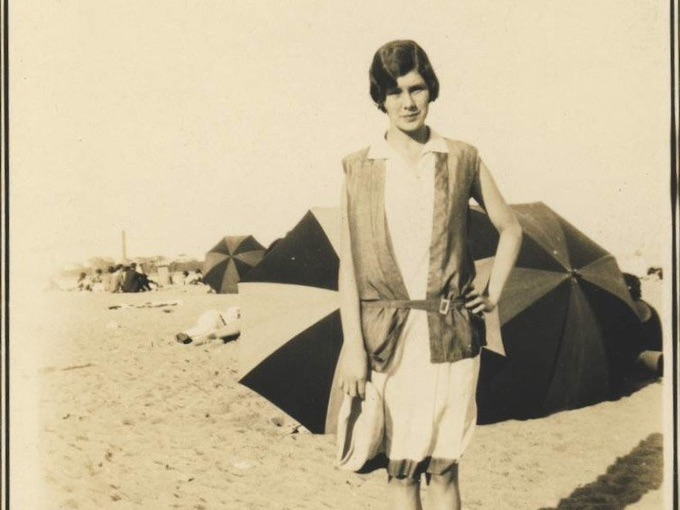 1929 Photograph of Woman on Beach — Hampton Beach, N.H.