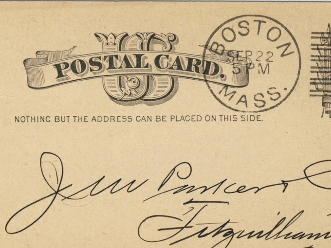 1883 Advertising Postal Card — Boston to Fitzwilliam, N.H.
