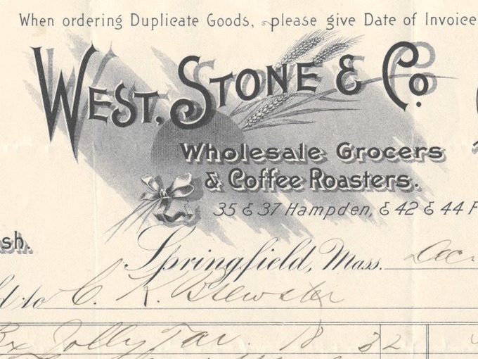 1895 West, Stone & Co., Fancy Illustrated Billhead Receipt — Springfield, Mass.