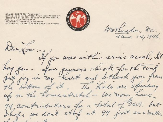 1946 Class of '99 Princeton University Letterhead