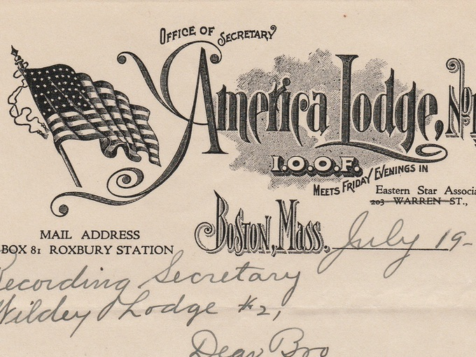 1921 America Lodge, No. 191 Illustrated Letterhead