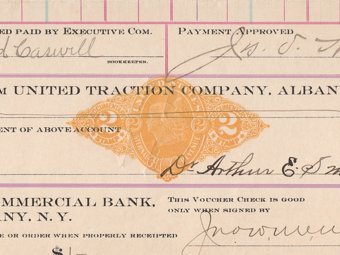 1900 United Traction Company, Voucher Check Receipt — Albany, N.Y.