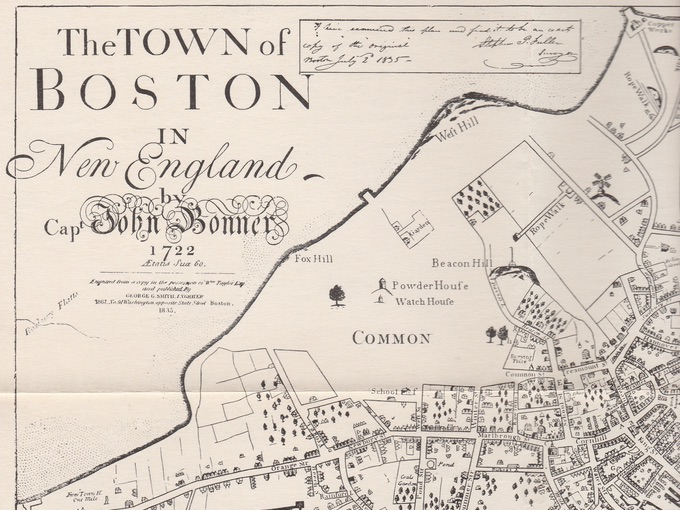 The Town of Boston in New England by Capt. John Bonner, 1722