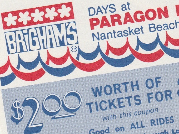 1970s Brigham's Days at Paragon Park Coupons (Lot of 3)
