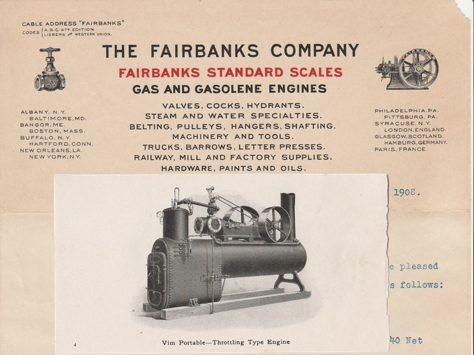 1908 The Fairbanks Company, Gas and Gasolene Engines — Bangor, Maine
