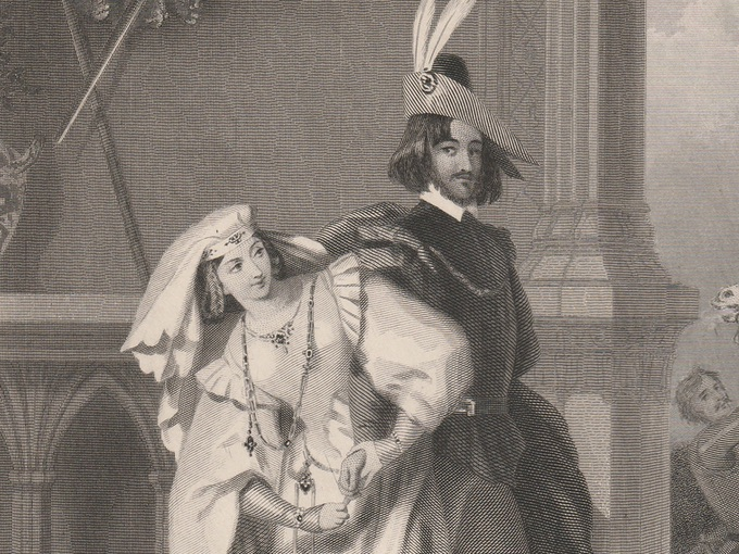 19th Century Steel Engraving — Hotspur and Lady Percy
