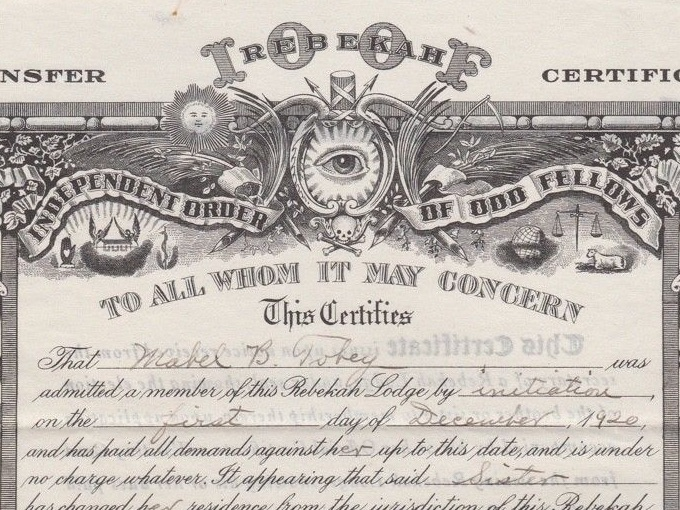 1927 IOOF Fraternal Certificate from Amana Rebekah Lodge — So. Braintree, Mass.