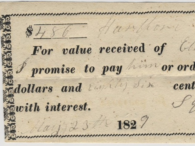 1829 Promissory Note on Rag Paper — Hartford, Conn.