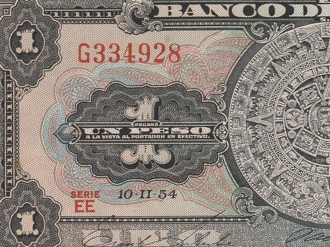 1954 Banco De Mexico, Un Peso Note (Uncirculated)