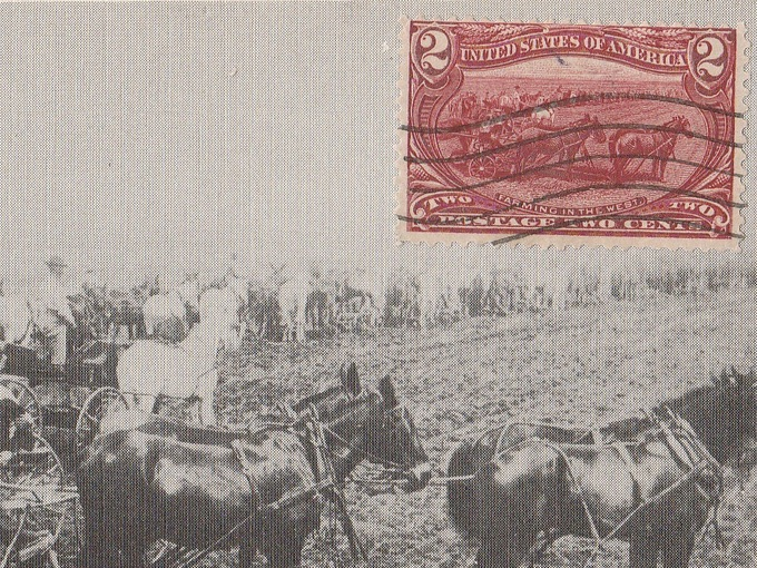 1898 Farming in the West Stamp — Trans-Mississippi Exposition Issue