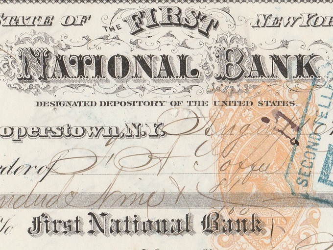 1872 First National Bank Check — Cooperstown, New York