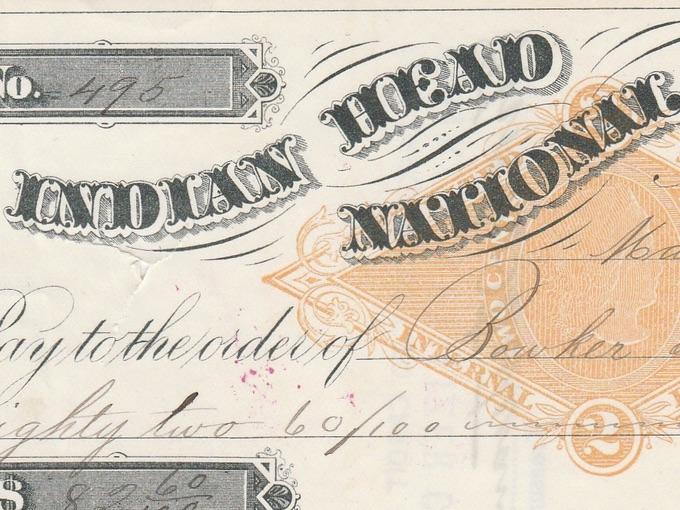 1883 Indian Head National Bank Check — Nashua, N.H.