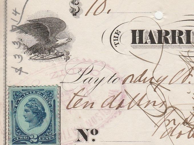 1878 Harrison National Bank Check — Cadiz, Ohio