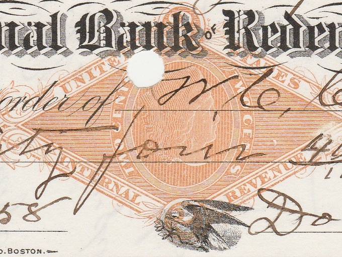 1880 National Bank of Redemption Check — Boston, Mass.