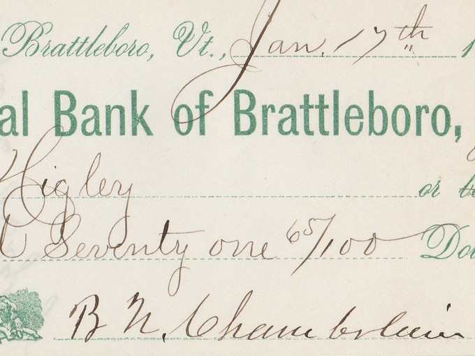 1872 First National Bank of Brattleboro, VT. — Check