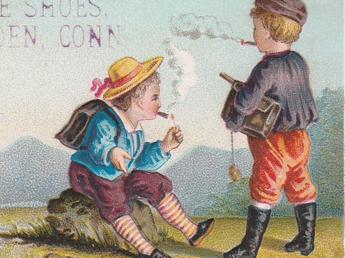 Victorian Era Trade Card, Two Schoolboys Smoking Cigars