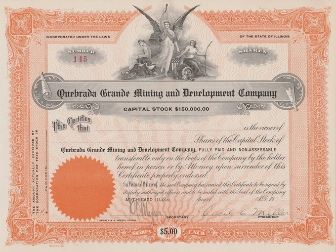 1963 Quebrada Grande Mining and Development Company, Capital Stock Certificate (Unissued)