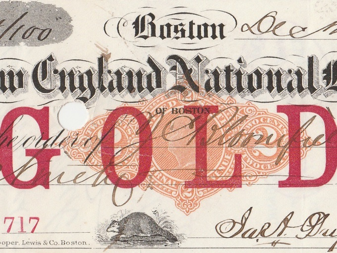 1877 New England National Bank Check — Boston, Mass.
