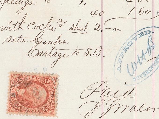 1869 Old Colony & Newport Railroad Receipt